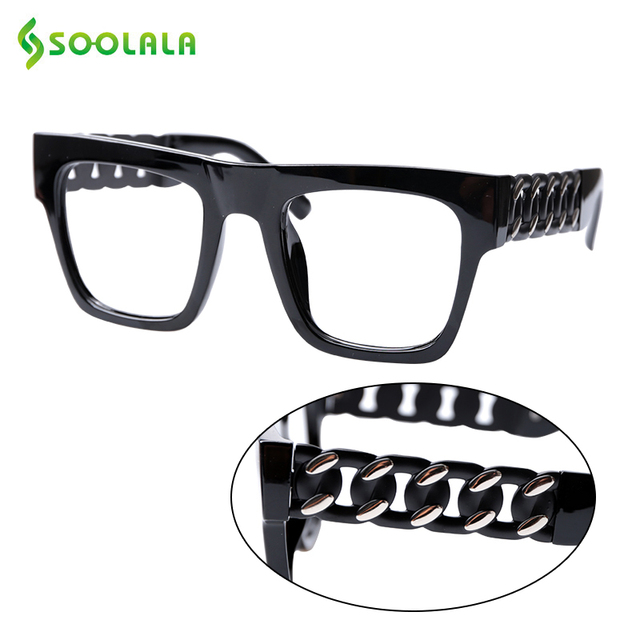 SOOLALA Square Oversized Reading Glasses Women Men Special Arms Clear Lens Presbyopia Computer Reading Glasses 0.5 to 5.0