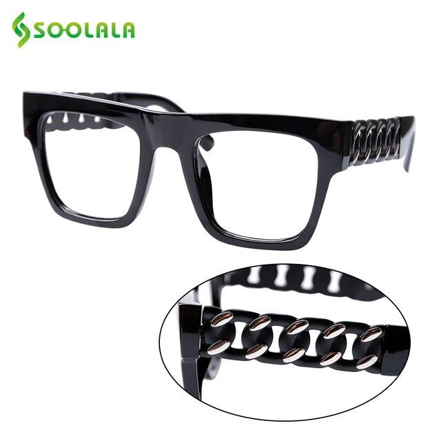 SOOLALA مربع المتضخم نظارات للقراءة النساء الرجال الأسلحة الخاصة واضح عدسة الشيخوخي الكمبيوتر نظارات للقراءة 0.5 إلى 5.0