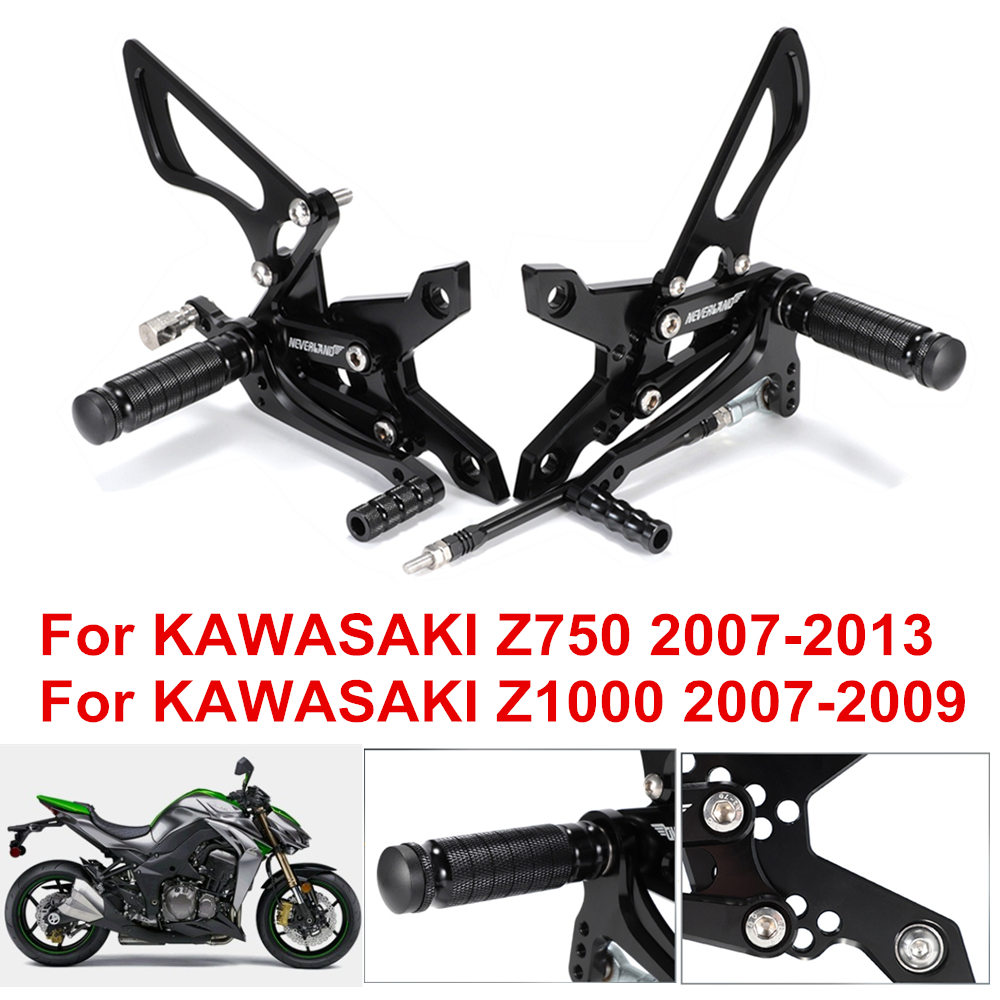 NICECNC Black Motorcycle Racing Fully Adjustable Rearset Footrests Foot Pegs Rear Set Replace Kawasaki ZX-6R//ZX636 2009-2010 ZX-6R//ZX636 2013-2014