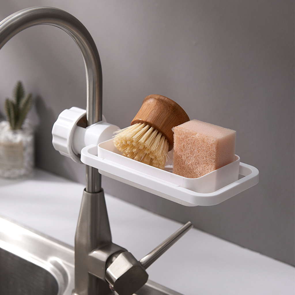 Creative Sink Faucet Rack Kitchen Faucet Sink Storage Rack Drain Basket Shower Rod Rack Kitchen Bathroom Accessories J50