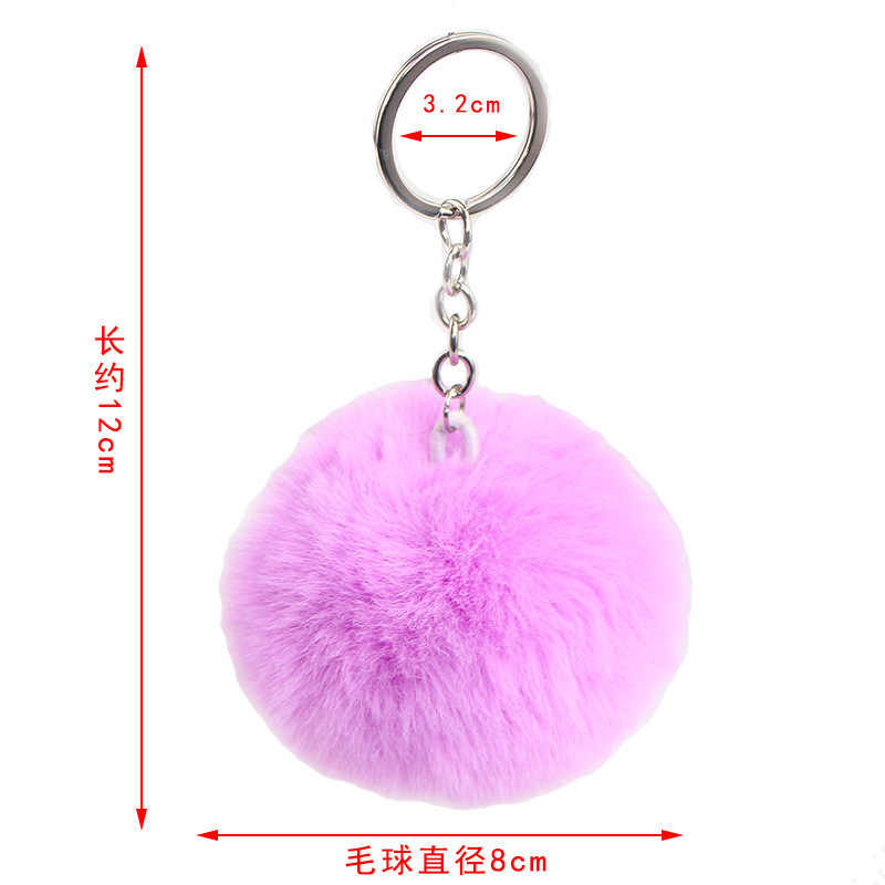 Bulu Kelinci Bola Berbulu Gantungan Kunci Lucu Cream Pom Pom Buatan Kelinci Bulu Gantungan Kunci Liontin Perhiasan Kunci Wanita Tas Mobil Cincin DIY
