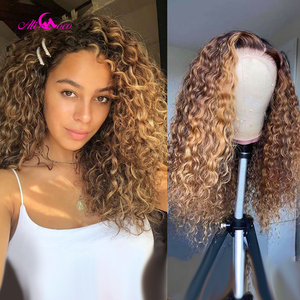 Парик Alicoco из человеческих волос с глубокими вьющимися волосами, медовый, светлый, Омбре, бразильские, коричневые, афро-волосы, фронтальные, ...