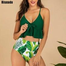 Riseado Ruffle Bikinis High Waisted Swimwear Women Leaf Print Swimsuit Knotted Strap biquini Push Up Beach Wear Summer 2020