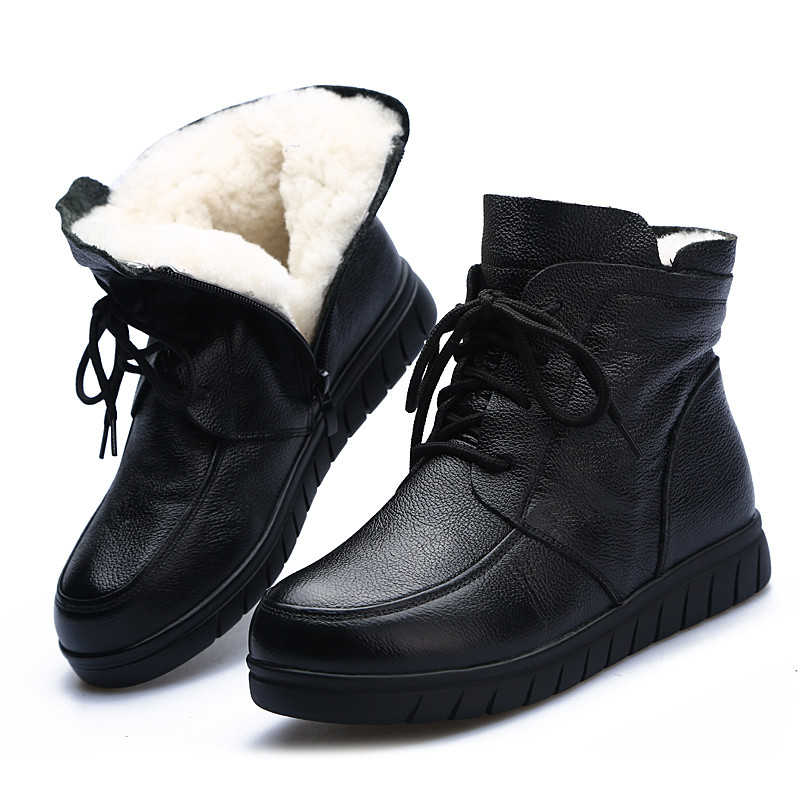Image 5 - MORAZORA 2020 hot sale soft leather Motorcycle Boots women lace up warm snow boots zip flat shoes ladies ankle boots winter-in Ankle Boots from Shoes