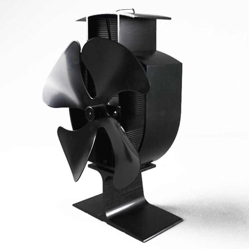 Fireplace 4 Blade Stove Fan Heat Powered Wood Logs Burner Eco Friendly Quiet Fan Home Efficient Heat Distribution Black