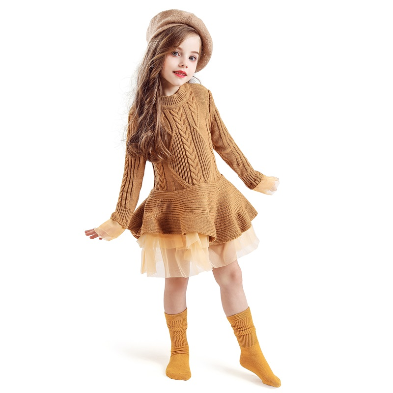 H7629f79d1def4b2aa6850504321d1f47C Xmas Winter Autumn Girl Dress Children Clothes Kids Dresses For Girls Party Dress Long Sleeve Knitted Sweater Toddler Girl Dress