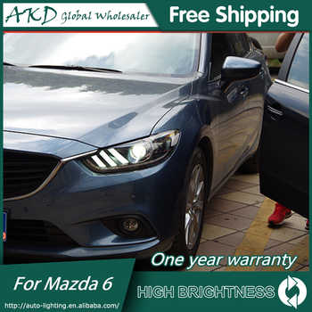 AKD Car Styling for Mazda 6 Headlights 2015 Mazda6 Atenza LED Headlight Mustan Design DRL Bi Xenon Lens High Low Beam Parking