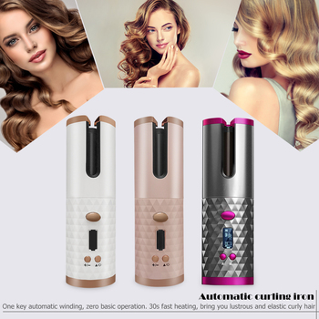 Portable Wireless Automatic Curling Iron Hair Curler LCD Curly Hair Machine USB Cordless Auto Rotating Styling Tools image
