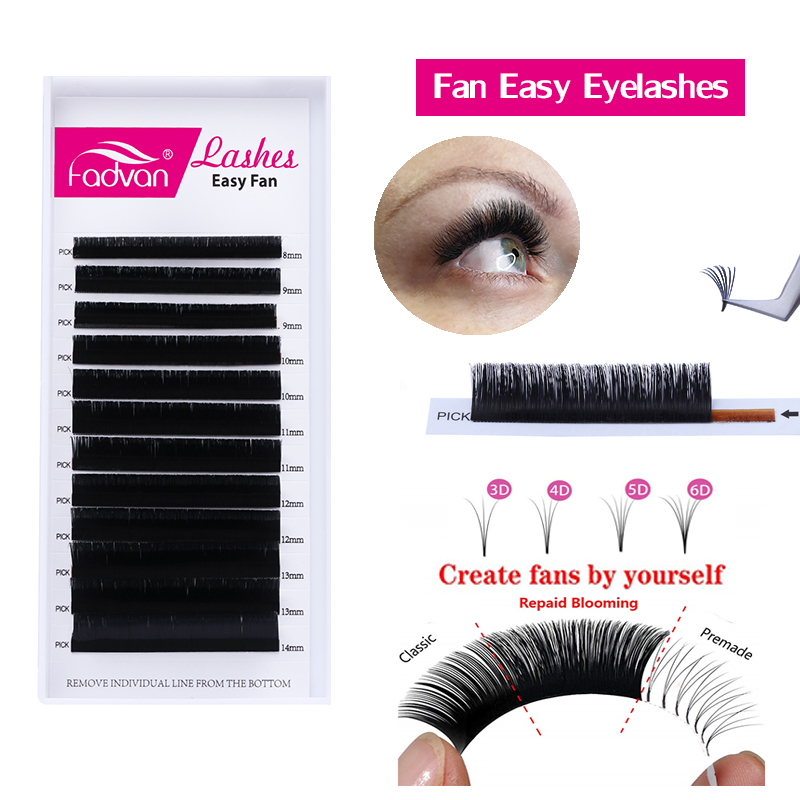 Fan Easy Eyelashes Flare Eye Lash Russian Volume Easy Fan Eyelash Extension Cilia Silk Individual Lashes Extension Premade Lash