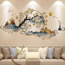 Chinese Style Ink Painting Landscape Wall Sticker Ginkgo Tree Home Decor Art Vinyl Wall Decal Mural Living Room Decor Wallpaper