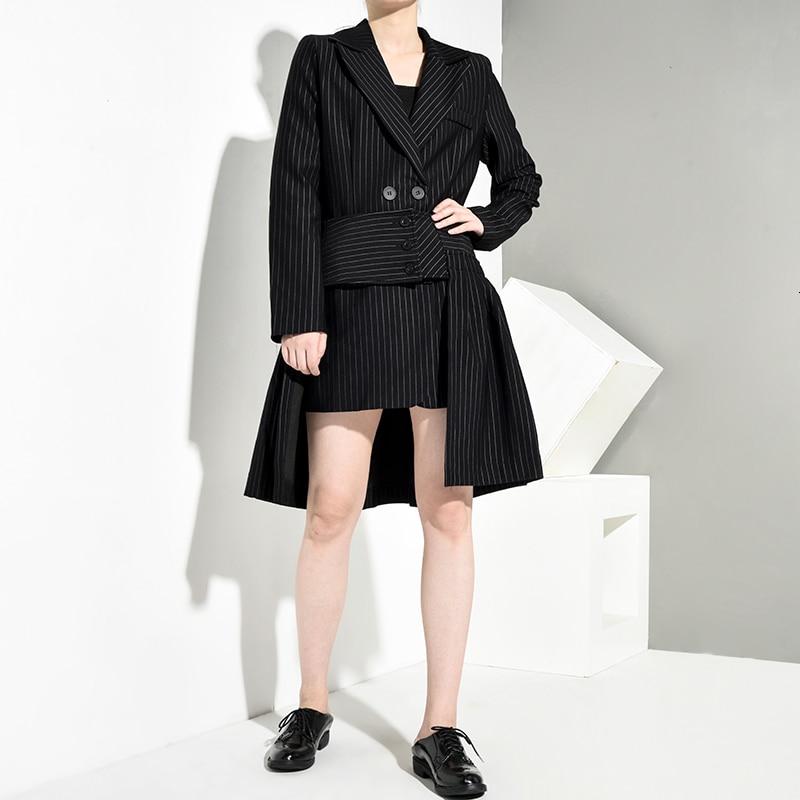 New Fashion Style Half-body Skirt Striped Irregular Two Pieces Suit Fashion Nova Clothing