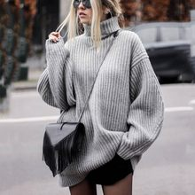 Autumn Winter Turtleneck Women Sweater Long Sleeve Oversize Jumper 2019 Sweater Knitted dress Loose Fashion warm Pullover Femme(China)