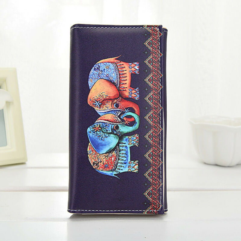 Women Lady Wallet Purse Zipper Handbag Fashion Clutch Leather PU Elephant Print Wallet Coin Phone Holder Women Long Purse Wallet