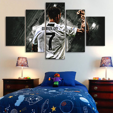 5 Pieces Wall Canvas Paintings Cristiano Ronaldo Posters Football Stars Sports Art Prints Kids Room Home Decor