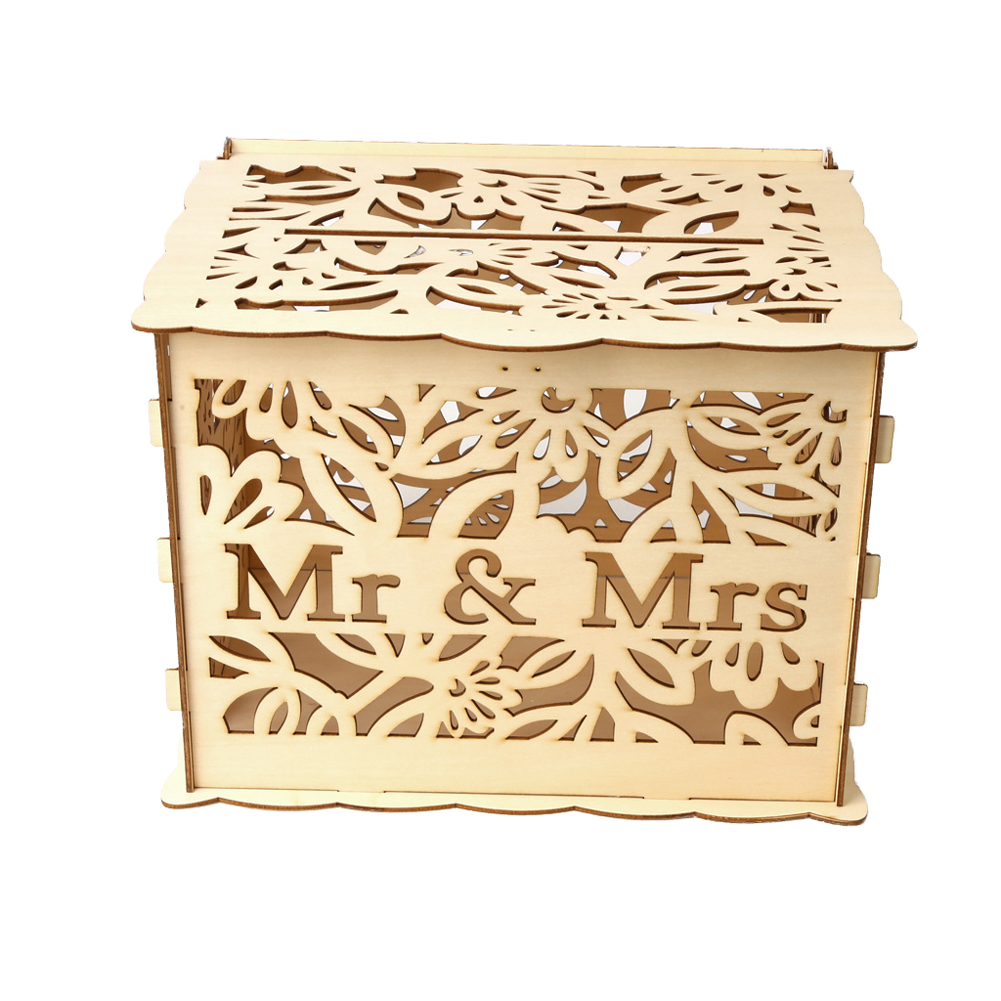 Rustic With Lock Holder Gift Card Box Wedding Decor Solid DIY Money Case Easy Install Durable Universal Wooden Storage