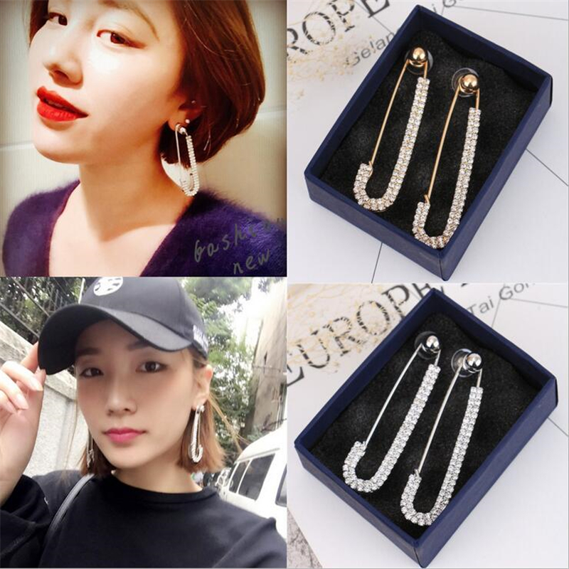 new creative safety pin earrings for women personality silver gold color crystal statement fashion jewelry gifts