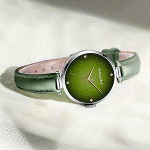 Image 3 - DOM Top Luxury Fashion Female Quartz Wrist Watch Elegant Green Women Watches Leather Waterproof Clock Girl Pattern Watch G 1292