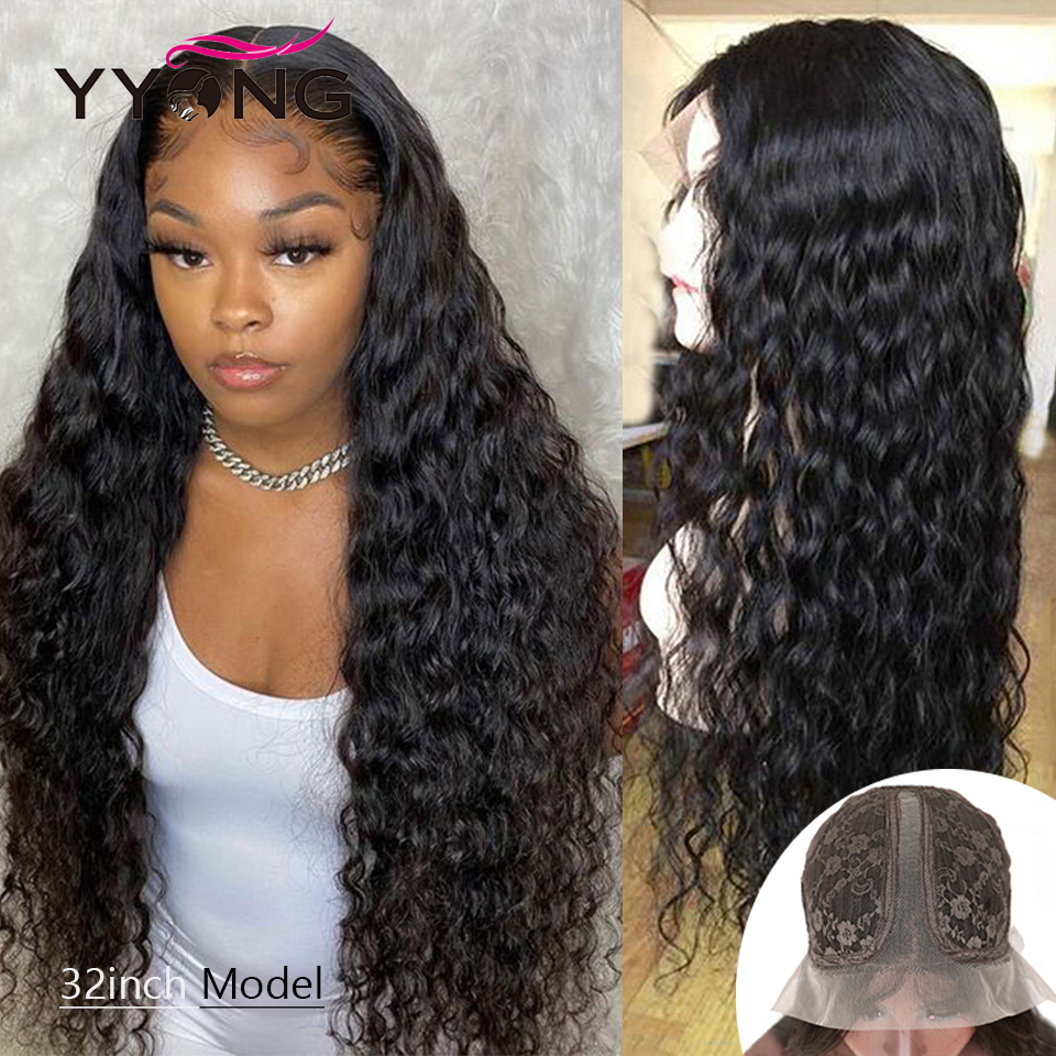 32inch  Water Wave 6x1 Topline Lace Part Wig HD Transparent Lace Wigs  T Part Lace Wigs With Baby Hair 1