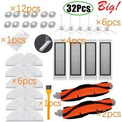 Para xiaomi roborock robô s50 s5 kits de peças reposição aspirador mop panos molhado limpar filtro escova lateral rolo escova tanque água