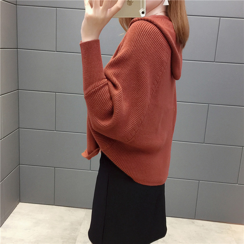 2019 Free send New style Korean loose and comfortable Autumn women Cardigan Sleeve of bat Hooded Sweater coat 111