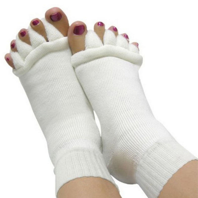 OPHAX 1pair Men Women Unisex Yoga Socks Sleeping Health Foot Care Massage Toe Socks Five Fingers Toes Compression Treatment 1