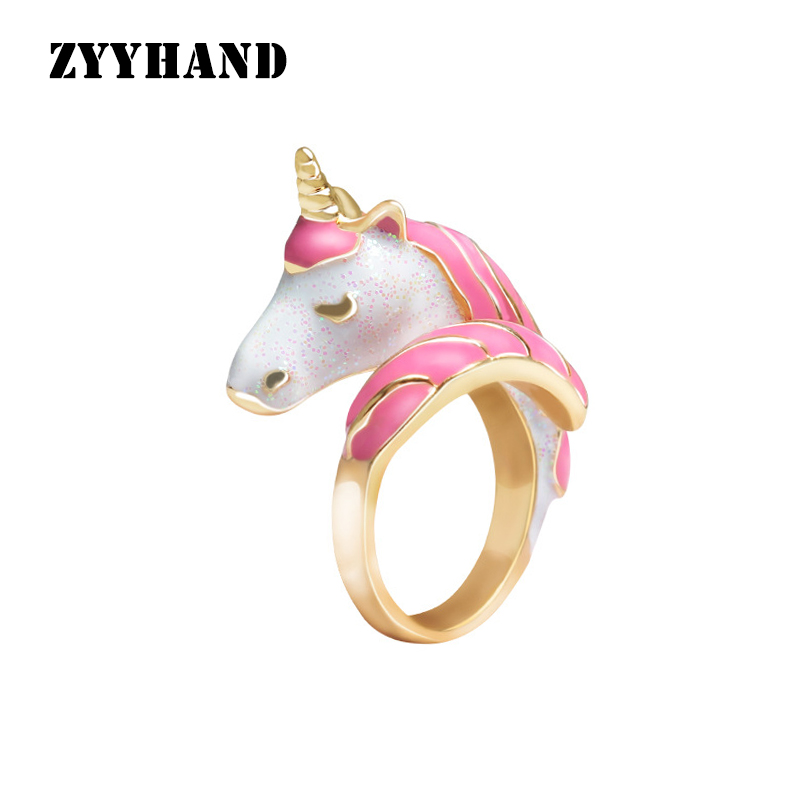 Multi Color Women Unicorn Ring Golden Color Pink Horse Lady Adjustable Wedding Party Rings