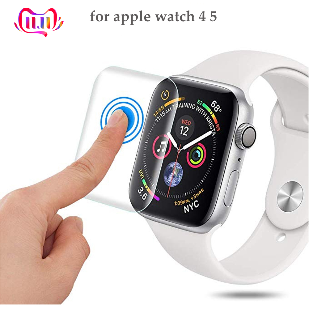 Full Protective Film For Apple Watch 4 5 band iwatch 44mm 40mm 9D Anti-Shock TPU Screen Protector apple watch Accessories