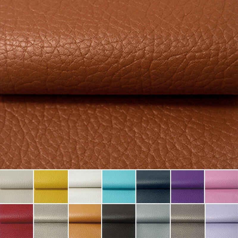 A4 A5 20*120CM Litchi PU deri vinil kumaş suni deri küpe dikiş çanta giyim kanepe araba DIY yay malzeme rulo rulo