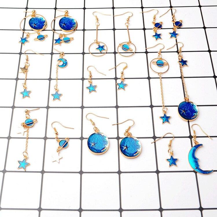 Японские и корейские серьги с голубыми звездами Луной для женщин