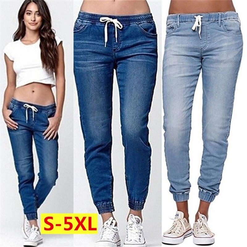 KALENMOS Plus Size Fashion Lace-up   Jeans   Women   Jean   Pants casual loose Fit Long Denim Pants Ladies Pure Color Large Size S-5XL