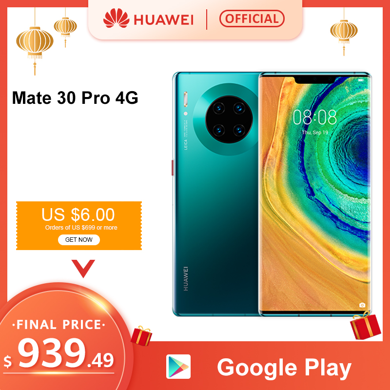 Original Huawei Mate 30 Pro 8G 256GB 6.53'' Screen Smartphone Kirin 990 Triple Cameras 40MP Front Camera 32MP Android 10 EMUI 10