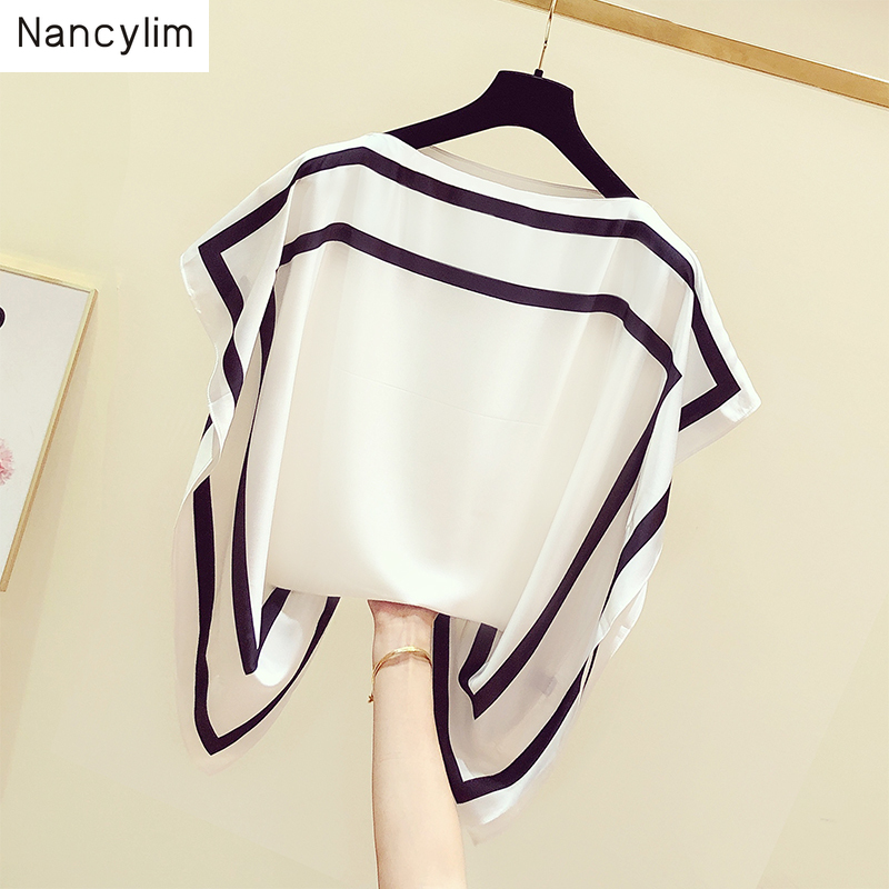 New Korean-style Striped Shirt Summer Women Wear Temperament Lady Slash Collar Bat Sleeve Chiffon Shirt Loose Blouse Blusas Tops