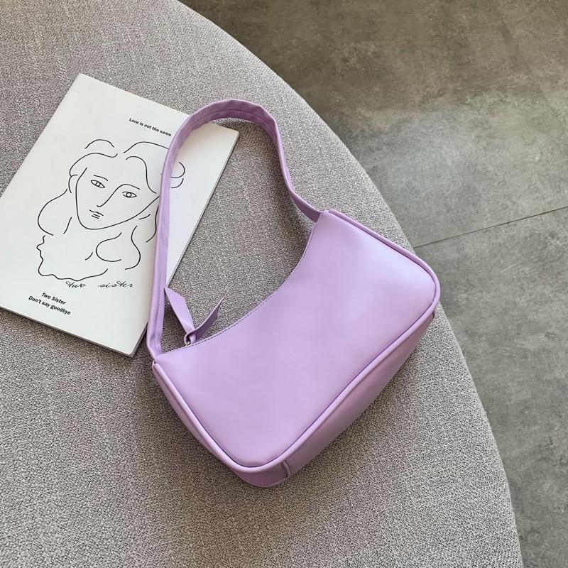 Weiche PU Leder Frauen Lila Unterarm Tasche Retro Einfarbig Damen Baguette Handtaschen Mode-Design Mädchen Kleine Schulter Taschen