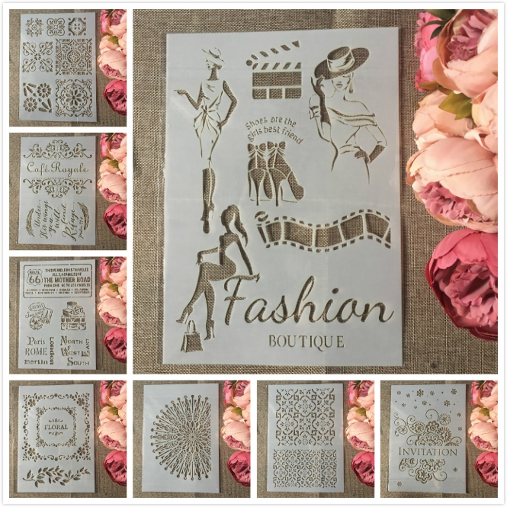 8Pcs A4 European Style Invitation Cafe Words DIY Layering Stencils Painting Scrapbook Coloring Embossing Decorative Template
