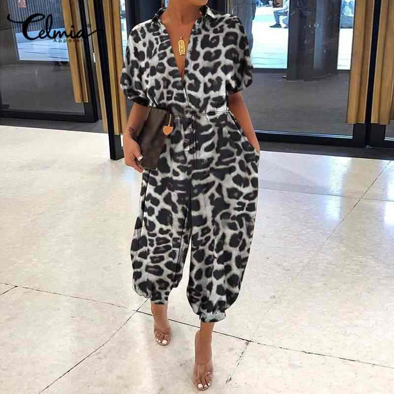 Sexy Leopard Print Women's Jumpsuits Celmia 2020 Summer Laple Short Sleeve Buttons Cargo Pants Fashion Rompers Casual Dungarees