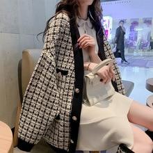 Elegant V neck Knit Cardigan Ladies Fall Winter Knit Sweaters Korean Style Women Plaid Cardigans sweters women invierno 2019