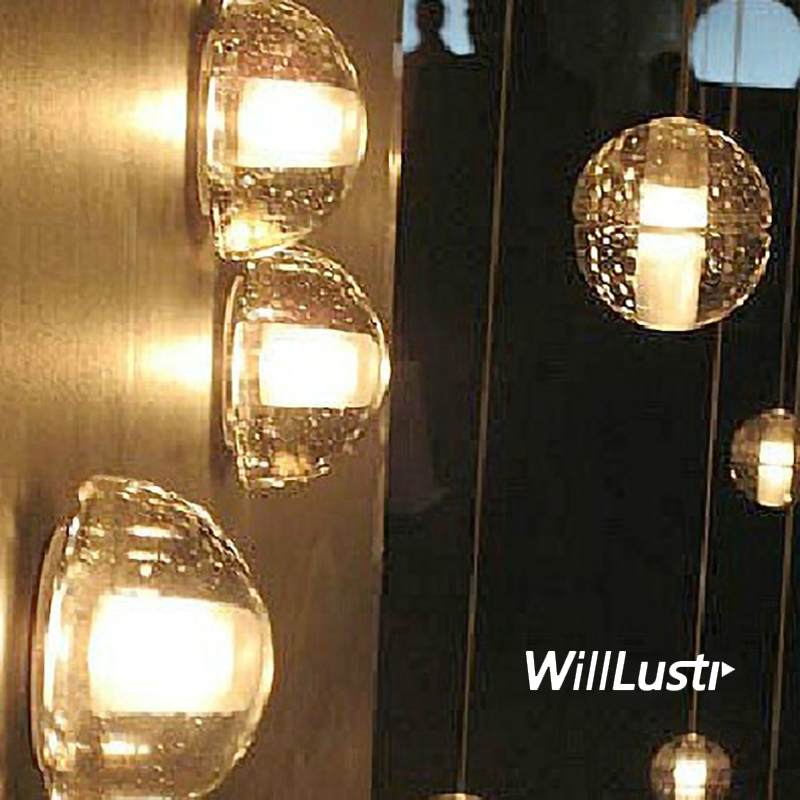 wall sconce glowing orb cast blown glass lamp modern clear crystal hemisphere lighting porch staircase hotel bar vanity light декоративні лампи із дерева у стилі бра