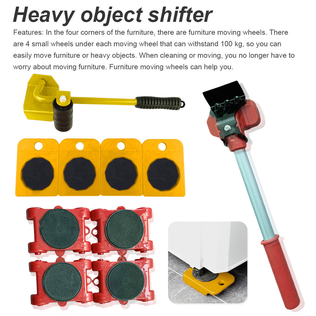 Home Trolley Lift And Move Slides Kit Easily System For Heavy Furniture 4 PC Rollers & 1PC Furniture Lifter Mover Transport Set