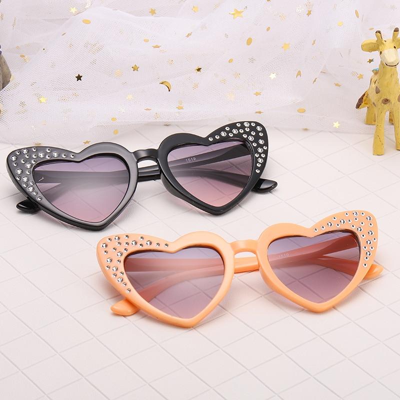 Cute Children Kids Heart Shaped Sunglasses Boys Girls Plastic Rhinestone Eyewear