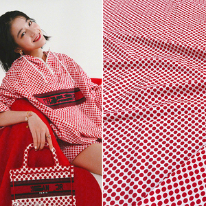 Pink windbreaker Polka dot printed polyester material Fashion women's clothing printed fabric cloth for dress by the meter