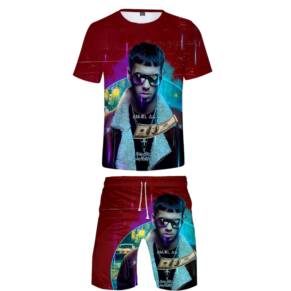 2019 Anuel AA Two Piece Set Tshirt And Shorts Harajuku Men Anuel AA T Shirt Streetwear Harajuku Short Sleeve Plus Size