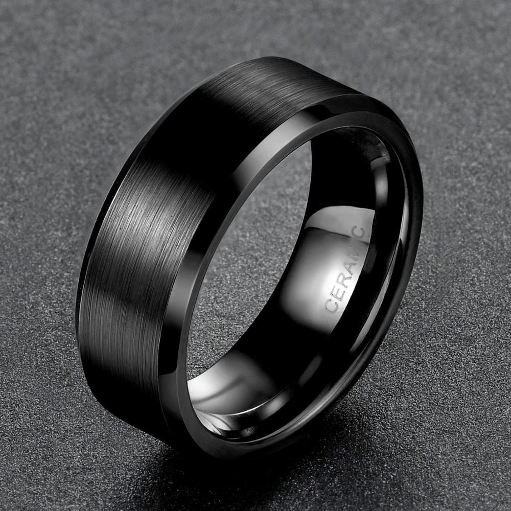 Eamti 4/6/8mm Black Ceramic Ring Men Brushed Comfort Fit Couple Wedding Band Engagement Rings For Men Women Size 4-15 Anel 4