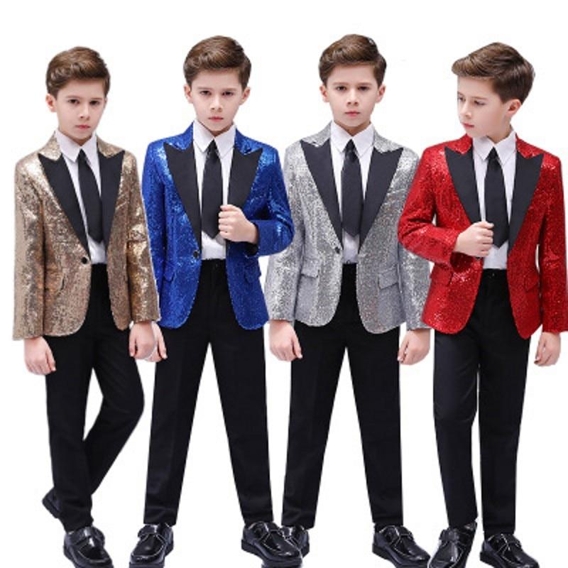 Child Multicolor Sequin Slim Suit Jacket With Pants Boy Gala Party Dancing Show Blazer Fashion Pianist Singer Tops Coat Trousers