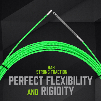 Durable Glass Fiber Tape Green Glass Fiber Electrical Cable Wire Threader Push Puller Guide Device +2pcs Fastener 12mx4.5mm
