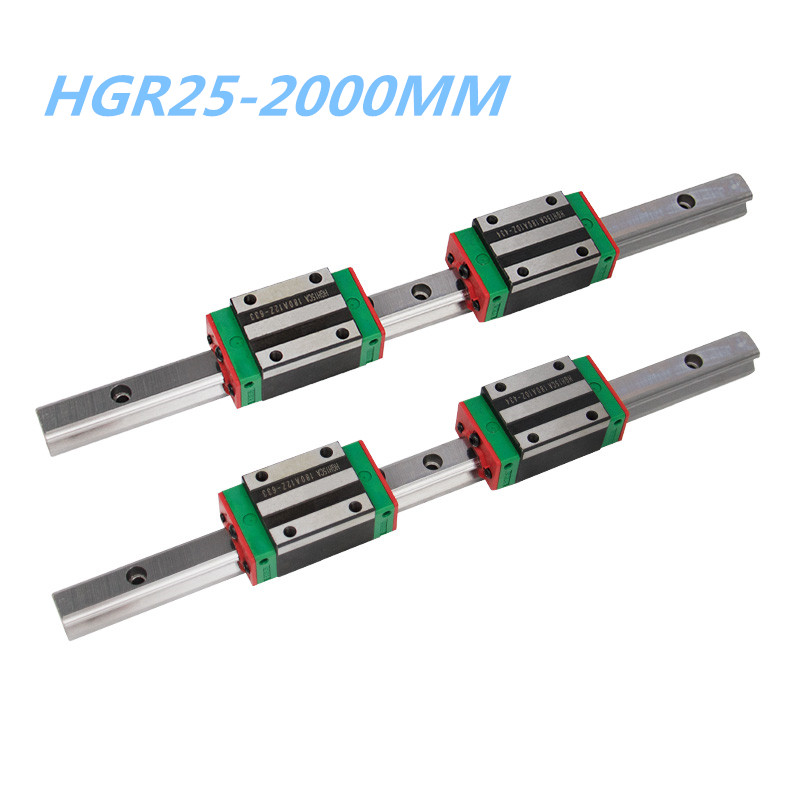 25mm linear rail 2000mm HGH25 2pc and linear rail kit HGH25CA /HGW25CC 4pcs for CNC router