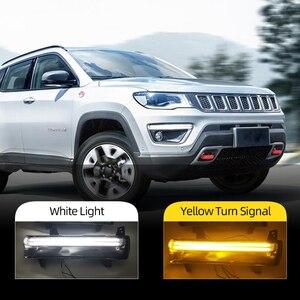 Image 1 - Auto Blinkende 1 Paar Auto LED DRL Für Jeep Kompass 2017 2018 2019 tagfahrlicht Mit gelben blinker licht