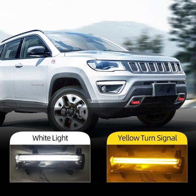 Auto Blinkende 1 Paar Auto LED DRL Für Jeep Kompass 2017 2018 2019 tagfahrlicht Mit gelben blinker licht