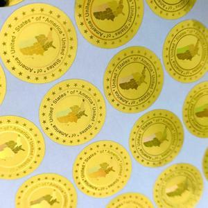Image 2 - 米国のアメリカホログラムステッカー 20 ミリメートルゴールドシルバー新デザインホログラフィステッカー無効後除去