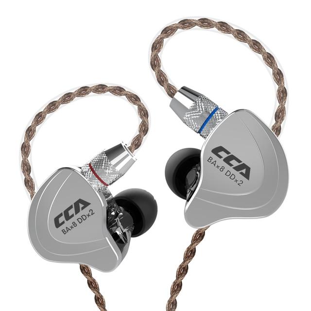 Cca C10 4ba+1dd Hybrid In Ear Earphones Hifi Dj Monito Running Sports Earphone 5 Drive Unit Headset Noise Cancelling Earbuds