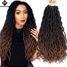 12 18 дюймов Nu Locs Goddess Faux Locs Curly Ombre плетение волос мягкие косички синтетические вязанные крючком косы волосы Exntension